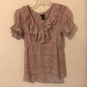 Just In H&M mauve ruffle front chemise blouse